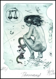 Hujber Gunter 2011 Exlibris C2 Girl with Snake Erotic Medicine a