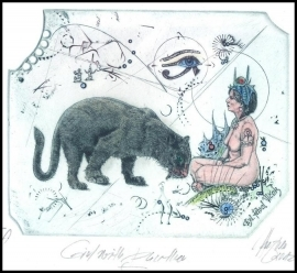 Hujber Gunter 2012 Exlibris C2 Girl with Panther Erotic Cat 44c