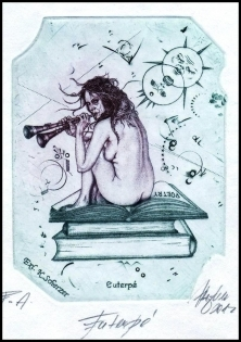 Hujber Gunter 2012 Exlibris C2 Mythology Muse Euterpe Erotic 48a