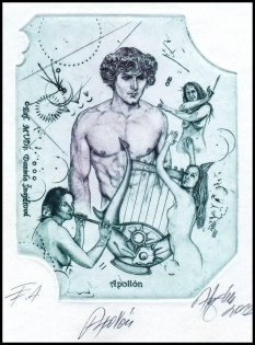 Hujber Gunter 2012 Exlibris C2 Mythology Apollon Erotic Nude 57b