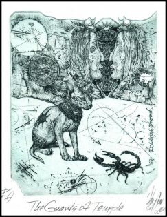 Hujber Gunter 2013 Exlibris C2 Guardians of Sphinx Cat Katze 69