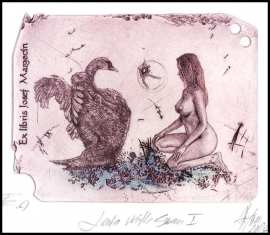 Hujber Gunter 2008 Exlibris C2 Leda and Swan Erotic Nude Bird 6a