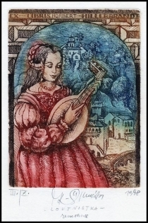 Kaiserova Renata 1998 Exlibris C3 Lute Player Woman Music 112