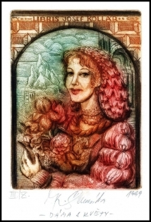 Kaiserova Renata 1999 Exlibris C3 Lady with Flowers Woman 119
