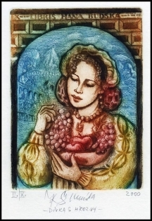 Kaiserova Renata 2000 Exlibris C3 Grapes Trauben Woman 123