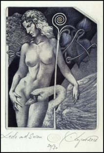 Kerin Hristo 2012 Exlibris C3 Leda and Swan Erotic Nude Woman
