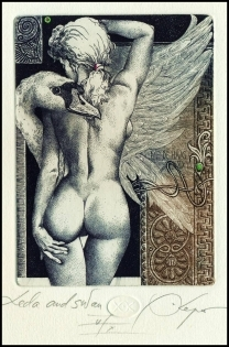 Kerin Hristo 2013 Exlibris C3 Leda and Swan Erotic Nude Woman