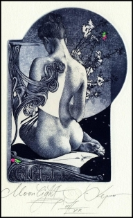 Kerin Hristo 2013 Exlibris C3 Moonlight Erotic Nude Woman 141