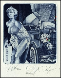 Kerin Hristo 2014 Exlibris C3 Retro Erotic Nude Woman Auto Car