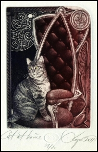 Kerin Hristo 2014 Exlibris C3 Cat Katze Pussy Chat Kot Animals
