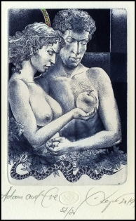 Kerin Hristo 2014 Exlibris C3 Adam and Eve Erotic Nude Snake 151