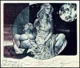 Kerin Hristo 2014 Exlibris C3 Mythology Pyramus and Thisbe Lion