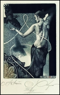Kerin Hristo 2015 Exlibris C3 Autumn Erotic Nude Woman Bird 165