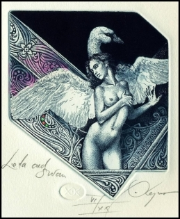 Kerin Hristo 2015 Exlibris C3 Leda and Swan Erotic Nude Bird 172