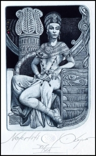 Kerin Hristo 2015 Exlibris C3 Mythology Nefertiti Egyp Erotic