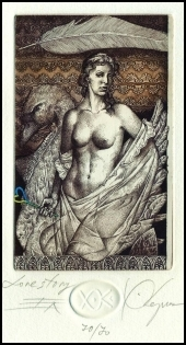Kerin Hristo 2007 Exlibris C3 Leda and Swan Erotic Nude Woman 67