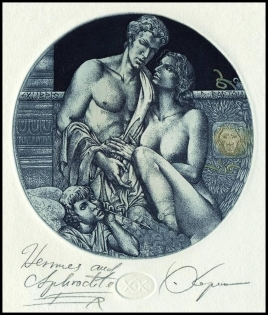 Kerin Hristo 2008 Exlibris C3 Mythology Hermes and Aphrodite 71