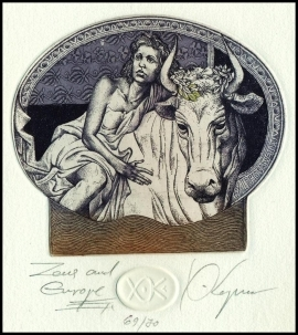 Kerin Hristo 2008 Exlibris C3 Mythology Europa and Bull Erotic