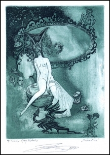 Naboka Oleg 2007 Exlibris C3 Erotic Nude Dragon Mirror Angel 12