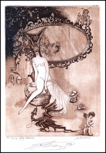Naboka Oleg 2007 Exlibris C3 Erotic Nude Dragon Mirror Angel 12a