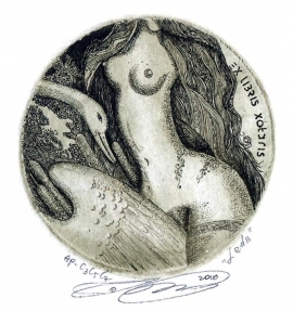 Naboka Oleg 2010 Exlibris C3 Leda and Swan Erotic Nude Bird 18