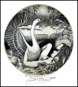 Naboka Oleg 2010 Exlibris C3 Leda and Swan Erotic Nude Bird 19