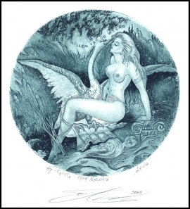 Naboka Oleg 2005 Exlibris C3 Leda and Swan Erotic Nude Bird 2