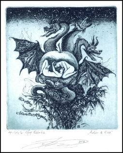 Naboka Oleg 2012 Exlibris C3 Adam and Eve Erotic Nude Dragon 24