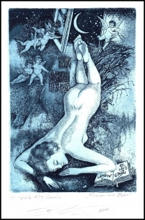 Naboka Oleg 2014 Exlibris C3 Erotic Nude Woman Angel Moon 36