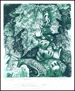 Naboka Oleg 2010 Exlibris C3 Erotic Nude Snail Grape Leaves n12