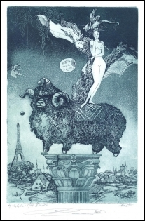 Naboka Oleg 2006 Exlibris C3 Erotic Paris Eiffel Tower Aries n6