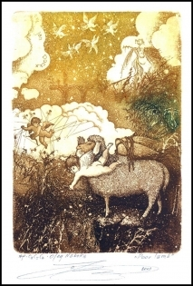 Naboka Oleg 2010 Exlibris C3 Sheep Erotic Angel Schaf Animals n7