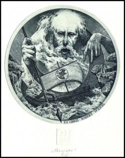 Naidenov Hristo 2003 Exlibris C3 Mythology Poseidon Ship Sailing