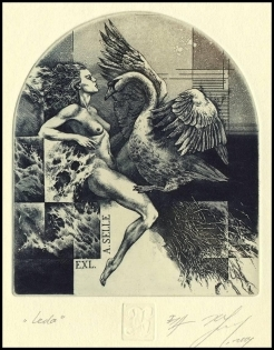 Naidenov Hristo 2004 Exlibris C3 Leda and Swan Mythology Erotic