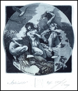 Naidenov Hristo 2004 Exlibris C3 Aphrodite Mythology Erotic Fish
