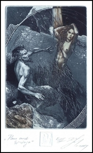 Naidenov Hristo 2004 Exlibris C3 Pan and Siringa Mythology Nude