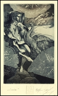 Naidenov Hristo 2008 Exlibris C3 Leda and Swan Mythology Erotic